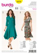 Burda Ladies Sewing Pattern 6574 Panelled Skirt Wrap Dresses