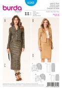 Burda Ladies Sewing Pattern 6582 Suit Blazer Jacket & Pencil Skirt