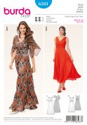 Burda Ladies Sewing Pattern 6583 Evening Dresses with Flutter Sleeves
