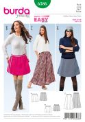 Burda Ladies Easy Sewing Pattern 6586 Mini to Maxi Elastic Waist Skirts