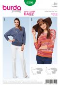Burda Ladies Easy Sewing Pattern 6590 Kimono Sleeve Tops with Hip Band