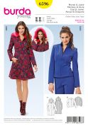 Burda Ladies Sewing Pattern 6596 Zip Up Coat & Jacket