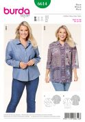Burda Ladies Plus Size Easy Sewing Pattern 6614 Shirts & Blouses