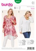 Burda Ladies Plus Size Easy Sewing Pattern 6615 Pin Tuck V Neck Blouses