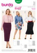 Burda Ladies Plus Size Easy Sewing Pattern 6617 Jersey Knit Elastic Waist Skirts