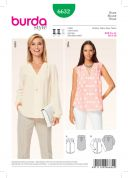 Burda Ladies Sewing Pattern 6632 V Neck Blouse Tops