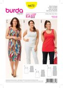 Burda Ladies Easy Sewing Pattern 6672 Simple Tops & Dress