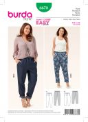 Burda Ladies Easy Sewing Pattern 6678 Tapered Leg Casual Pants