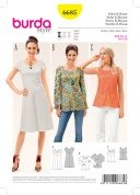 Burda Ladies Easy Sewing Pattern 6685 Top, Blouse & Dress