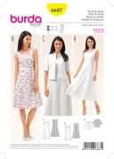 Burda Ladies Easy Sewing Pattern 6687 Dresses & Short Sleeve Jacket