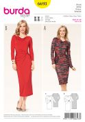 Burda Ladies Sewing Pattern 6693 Gathered Waist Cowl Neck Dresses