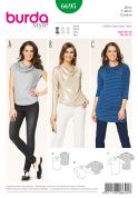 Burda Ladies Easy Sewing Pattern 6695 Cowl Neck Tops & Tunic