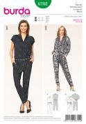 Burda Ladies Easy Sewing Pattern 6702 Drawstring Waist Jumpsuits