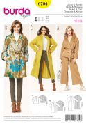 Burda Ladies Easy Sewing Pattern 6704 Coats in 2 Lengths with Tie Belt