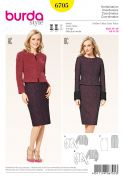 Burda Ladies Sewing Pattern 6705 Fitted Jackets & Pencil Skirt Suit