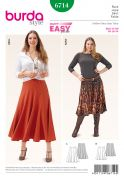Burda Ladies Plus Size Easy Sewing Pattern 6714 Panelled Flared Skirts