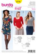 Burda Ladies Plus Size Easy Sewing Pattern 6716 Tops & Dress