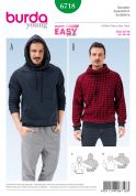 Burda Mens Easy Sewing Pattern 6718 Hoodie & Sweater Top