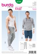 Burda Mens Easy Sewing Pattern 6719 Casual Pants & Shorts