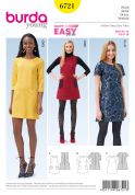 Burda Ladies Easy Sewing Pattern 6721 Simple Shift Dresses