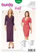 Burda Ladies Easy Sewing Pattern 6730 Wrap Over Side Tie Dresses
