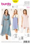 Burda Ladies Easy Sewing Pattern 6731 Loose Fit Tunic Top & Dresses