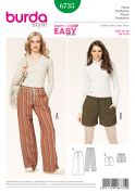 Burda Ladies Easy Sewing Pattern 6735 Casual Trouser Pants & Shorts