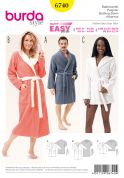 Burda Ladies & Mens Easy Sewing Pattern 6740 Dressing Gown Bath Robes