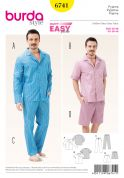 Burda Mens Easy Sewing Pattern 6741 Pyjama Tops, Pants & Shorts