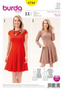 Burda Ladies Sewing Pattern 6744 Dresses with Swingy Skirts