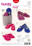 Burda Ladies & Mens Easy Sewing Pattern 6754 Slippers & Holder