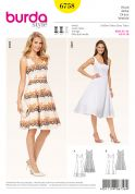 Burda Ladies Sewing Pattern 6758 Fit & Flare Dresses in 2 Lengths