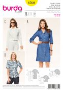Burda Ladies Easy Sewing Pattern 6760 Shirt, Jacket & Shirt Dress