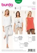 Burda Ladies Easy Sewing Pattern 6762 Loose Fitting Casual Tops