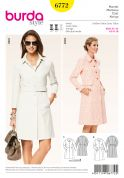 Burda Ladies Sewing Pattern 6772 Button Up Trench Coats & Belt