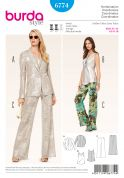 Burda Ladies Sewing Pattern 6774 Top, Trouser Pants & Jacket Suit