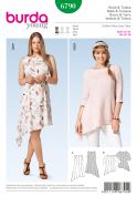 Burda Ladies Plus Size Easy Sewing Pattern 6790 Asymmetric Dress & Tunic Top