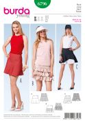 Burda Ladies Easy Sewing Pattern 6796 Summer Skirts with Ruffles