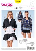 Burda Ladies Sewing Pattern 6799 Casual Tracksuit Zip Up Jackets