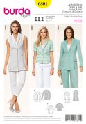 Burda Ladies Sewing Pattern 6801 Smart Suit Jackets & Waistcoat