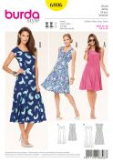 Burda Ladies Sewing Pattern 6806 Summer Dresses with Inset Panels