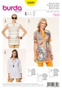 Burda Ladies Easy Sewing Pattern 6809 Loose Fitting Tunic Tops