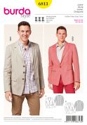 Burda Mens Sewing Pattern 6813 Smart Suit Jackets in 2 Styles