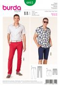 Burda Mens Sewing Pattern 6815 Fitted Jeans & Long Shorts