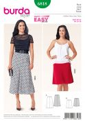 Burda Ladies Easy Sewing Pattern 6818 Elastic Waist Skirts