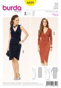 Burda Ladies Easy Sewing Pattern 6829 Mock Wrap Tulip Skirt Dresses