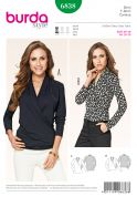 Burda Ladies Easy Sewing Pattern 6838 Stretch Knit Mock Wrap Tops