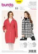 Burda Ladies Sewing Pattern 6844 Loose Fitting Winter Coats