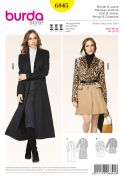 Burda Ladies Sewing Pattern 6845 Long Length Winter Coats
