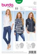 Burda Ladies Sewing Pattern 6849 Fitted Shirts in 3 Styles